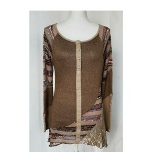 Anthropologie Brown Lace Henley Tunic Top Large